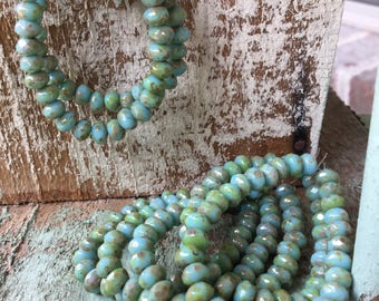 Sky blue picasso rondelles, 5 x 3 Czech beads, turquoise blue rondelle beads