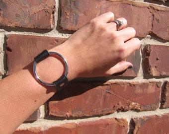 Genuine Leather Silver Circle Ring Bracelet
