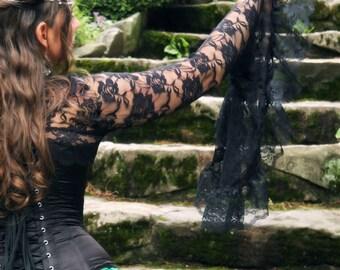 La Rose Gothique Black Lace Bell Sleeve Shrug Custom to Measure