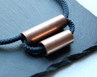 Navy Blue Rope Necklace, Copper Jewelry, Leather, Minimalist Jewelry, Industrial Jewelry, Knots and Pipes, Pipe Necklace, Toronto
