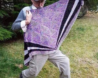 Purple Brioche Hand knitted Lace shawl, beautiful fine, hand dyed yarn, triangular shawl