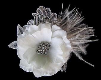 Rachel - Bridal Soft White Flower Hair Clip Fascinator Clear Rhinestone-Ostrich feathers
