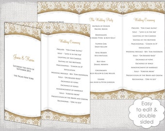 trifold wedding programs