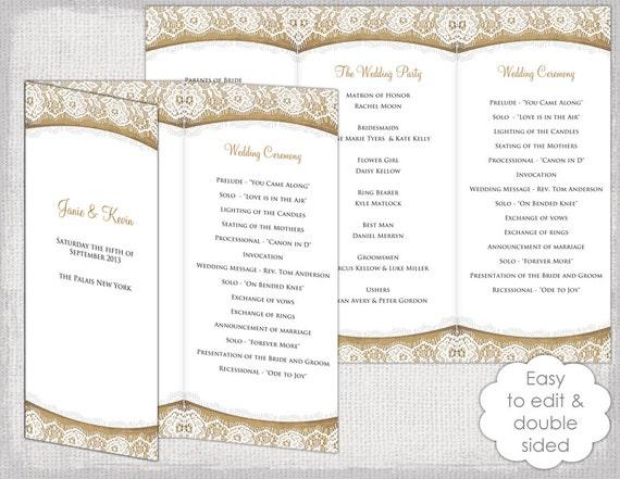 rustic wedding program template burlap lace diy. Black Bedroom Furniture Sets. Home Design Ideas