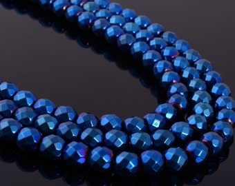 6MM271 6mm Faceted blue hematite round ball loose gemstone beads 16""
