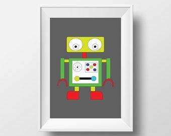 Robot wall art, Robot bedroom, Robot print, Boys room decor, Boys nursery prints, Boys nursery wall art, Robot poster, Girls room prints