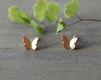 Butterfly Earrings, Butterflies, Gold Butterfly Earrings, Simple Earrings, Tiny Studs, Little Gold Studs, Gold Butterfly Earrings