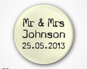 Personalised Wedding Favours pack of 20 Badges or Magnets. Available as 2.5cm badges or 3.8cm badges or magnets