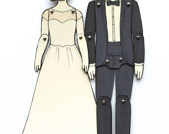 Paper Doll Portraits for Wedding, Engagement, or Anniversary Gifts — Custom Order