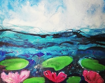 Pond life size A5 original art