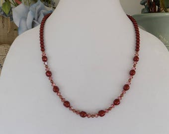 Burgundy Swarovski Pearl and Crystal Necklace, Rust Color Beads, Pink Crystals with pearls, potato pearls, large pearl necklace, red pearls