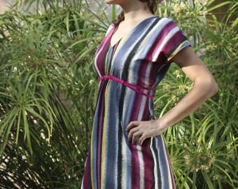 Robe d'été en coton imprimé rose gris ocre noir, taille adaptable