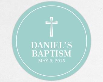 Baptism Favor Tag, Baptism Favor Label, Christening Favor Tag, Christening Favor Label, Cross, Boy Baptism, Boy, Baby Blue, Neutral, Daniel