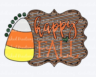 Fall/Autumn/'Happy FALL' with Candy Corn/Heart /Dots Vinyl Decal/Glass Block/Canvas/Tumbler/Mantle Decor/Fall DIY