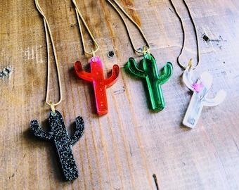Resin Cast Cactus Pendant Necklace