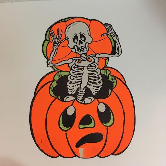 Vintage Halloween Pumpkin Decoration Skeleton Skull Jack O Lantern Die Cut Cardboard Paper Party Retro Decor Large Neon From