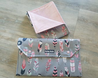 "Nappy Wallet & Waterproof Change Mat. ""Pastel Feathers"" Fabric. Beautiful Gift!"