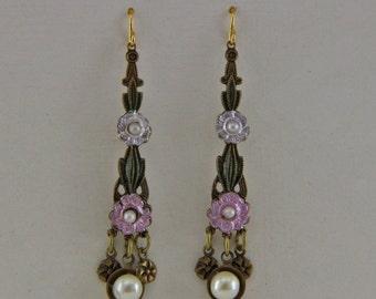 Vintage Flowered Dangle Earrings
