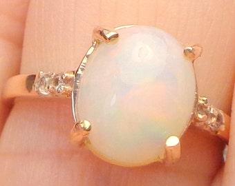 SZ 7, Solid 10k, Rose Gold Ring, Ethiopian Welo Opal, Natural Opal, Cream, Peach, Blue, Color Play Opal, OOAK