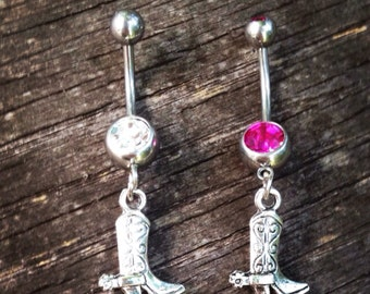 Cowboy Boot Belly Button Ring