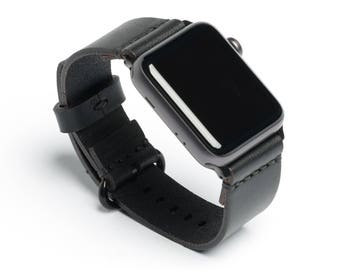 Full Grain Leather Simple Apple Watch Band - Wickett & Craig® Black | Made in USA