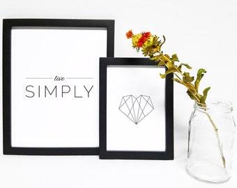 Live Simply Typographic Print