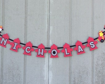 Name banner for firetruck decorations