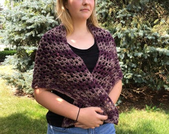 Rustic Shawl Purple and Taupe Warm Crochet Shawl Wrap Purple Shawl