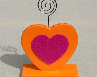 Picture holder wooden heart, orange and pink