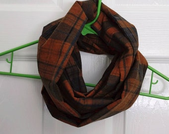 Brown and Blue Plaid Flannel - 100% Cotton Eternity Scarf -  Handmade