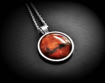 Mars Necklace Planet Mars Pendant Planet Jewelry - Planet Mars Necklace Jewelry - Mars Planet Pendant Necklace, Planet Mars Jewelry Necklace