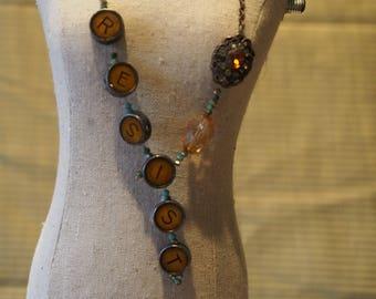 RESIST Typewriter Keys and Vintage Brooch Repurposed Necklace