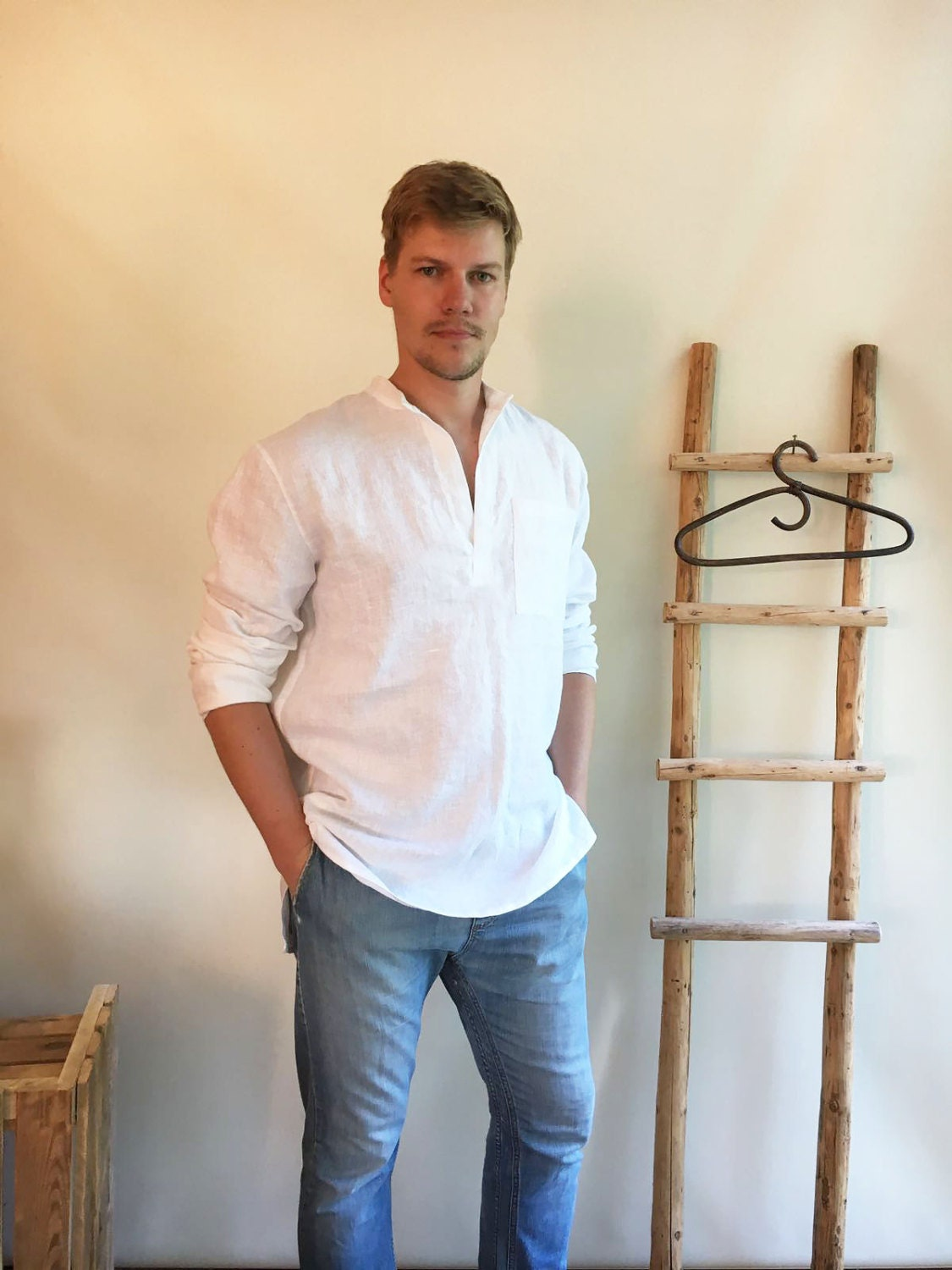 Linen Shirt Men, Mens Shirt, White Linen Shirt Dress, Long Sleeve ...