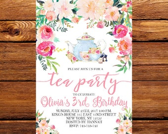 Tea party invitation etsy floral tea party invitation tea party invitetea party birthday invitationtea party supplies tea party idea birthday party 175 stopboris Image collections
