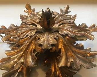 Stunning Dramatic 1950s Italian Flower Rewired Brass Light Fixture Sconce/Ceiling Crown Maison Jansen/Kogl Hollywood Regency Style