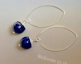 Lapis Earrings, Sterling Silver, December birthstone, blue gemstone, lapis lazuli  jewelry, natural gemstones, minamlist earrings
