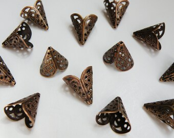20 Filigree Cone bead caps vintage inspired antique copper 16x11x17mm DB31487