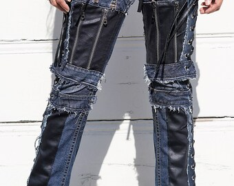 Chopper style side open lace ups and straight down zippers on a vintage jeans 'Black Widow Faux Leather'