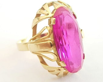 Vintage Ladies Large Art Deco Style Rhodolite Garnet Statement Ring in 14 Ct Yellow Gold FREE POSTAGE Included