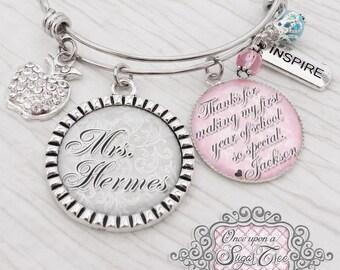Teacher Bracelet, Thank you gift, Bangle Bracelet- Teacher Appreciation Gift, Inspire,Charm Bracelet, Personalized Teacher Gift, First year