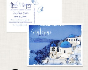 Destination wedding invitation Santorini Greece Greek Island Save the Date Postcard European  illustrated wedding invitation Deposit Payment