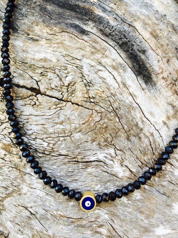Black Crystal & Evil Eye Necklace