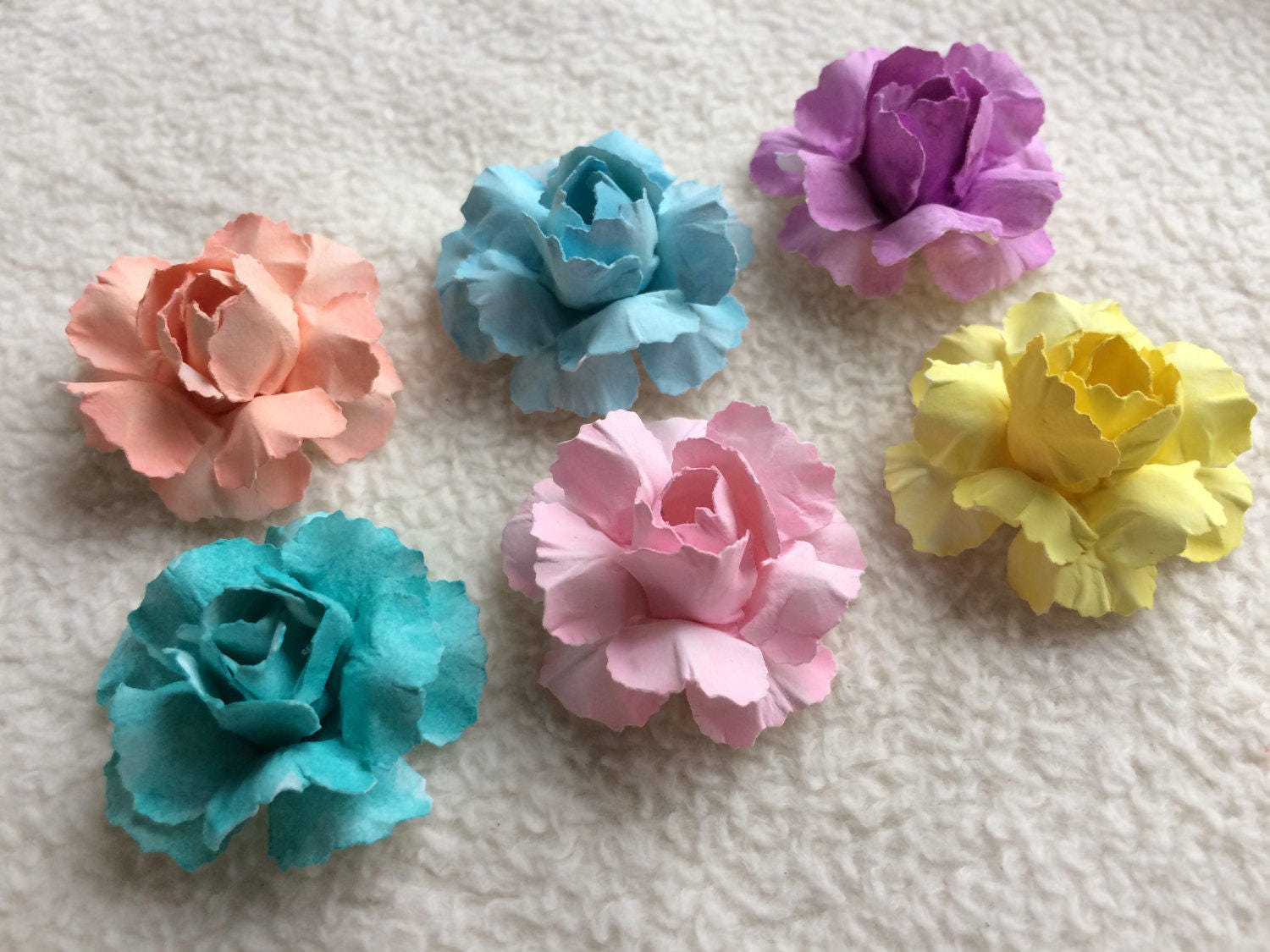 Handmade Paper Flowers6 Piece Set Of Very Chic And Shabby