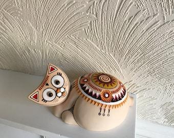 Handmade ceramic mandala cat; Pottery cat; Mandala symbol cat; Multi-color cat