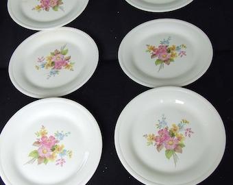 Vintage Wedding Dinner Plates Edwin M. Knowles Floral Plates Set of 6 Shabby Chic Cottage Vintage Bridal Shower