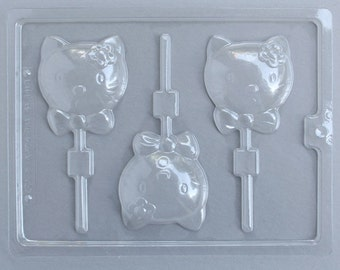 Kitty Kat Lollipop Mold, Hello Kitty Chocolate Mold, Kitty Cat Lollipop Chocolate Mold, Kawaii Cat Chocolate Sucker Mold