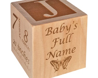 Personalized Baby Gift Birth Wooden Block Personalized Baby Block Personalized Baby Newborn Keepsake Baby Girl Baby Boy 1st Birthday Gift