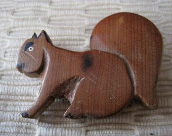 Cute Vintage Carved Wood Squirrel Brooch
