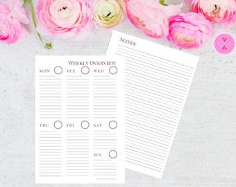 Raspberry Pink Printable Week on One Page with Notes Planner Insert for A5 Filofax and Large Kikki K - Instant Downloadable Weekly Planner