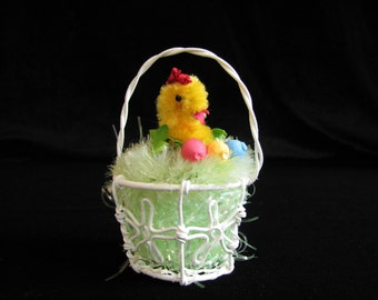"Tiny Easter Chick in Basket, Chick in Basket, Easter Decor, Easter Basket, Easter Gift, Chenille Chick, 3"" Easter Basket, Spun Cotton Eggs"